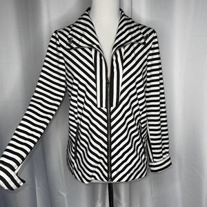 Erin London Striped Flip Cuff Jacket Med